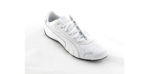 Pánské bílé Puma tenisky se stříbrným potiskem