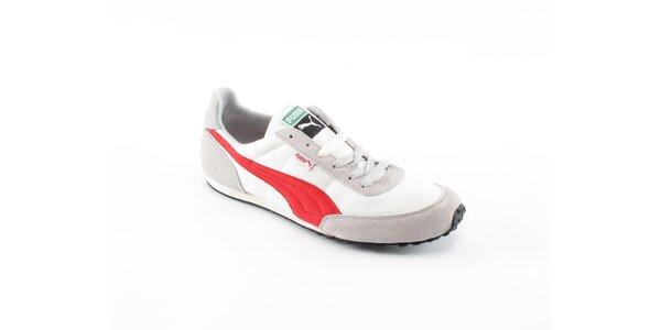 Pánské bílé tenisky Puma s červenými a šedivými detaily
