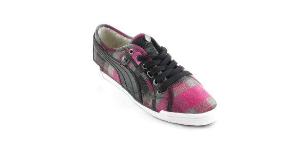 Dámské růžovo-šedé kostkované tenisky Puma s kožíškem