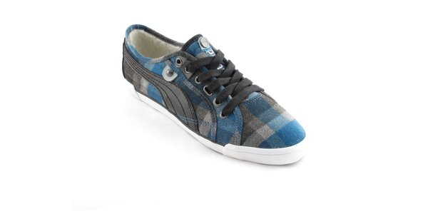 Dámské modro-šedé kostkované tenisky Puma s kožíškem