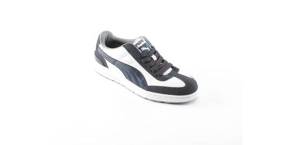 Pánské bílé tenisky Puma s šedivými a modrými detaily