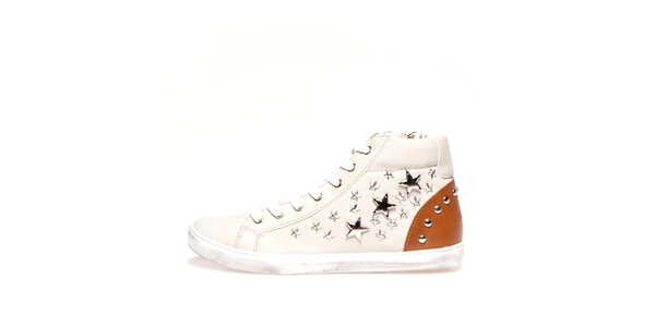 Dámské béžové kotníkové tenisky s hvězdičkami Big Star