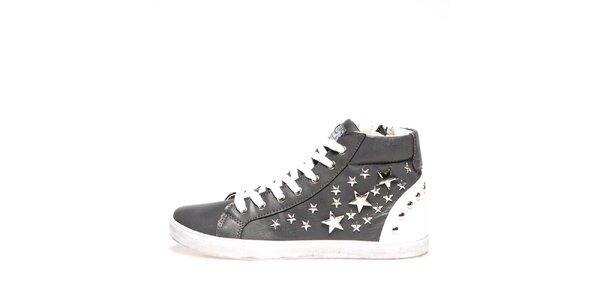 Dámské šedé kotníkové tenisky s hvězdičkami Big Star