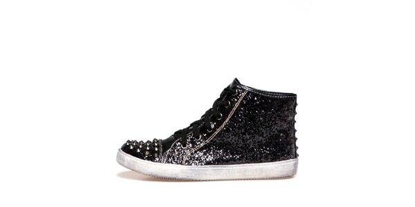 Dámské černé lesklé boty s pokovanou špičkou Big Star