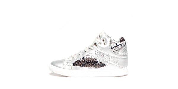 Dámské stříbrné kotníkové tenisky s detaily hadí kůže Big Star
