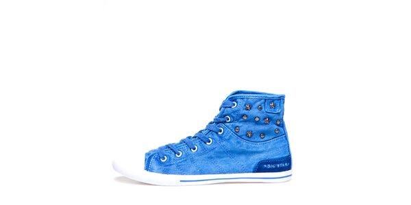 Dámské modré kotníkové tenisky s hvězdičkami Big Star