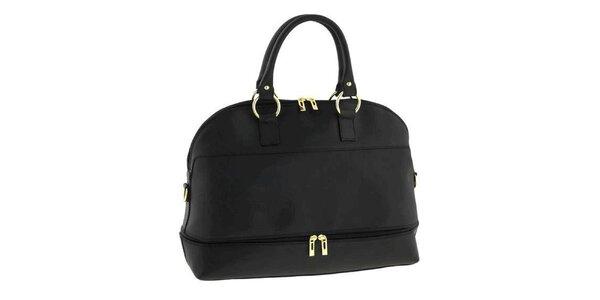 Dámská černá kožená kabelka s odnímatelným popruhem Classe Regina
