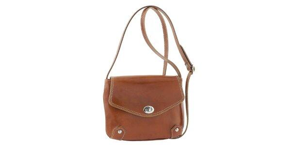 Dámská medově hnědá kožená taška s otočným zámečkem Classe Regina