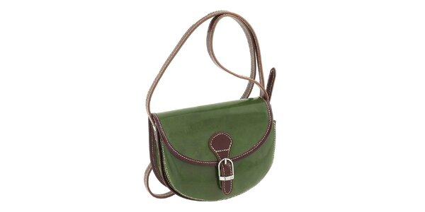 Dámská zelená kabelka s hnědými prvky a přezkou Classe Regina