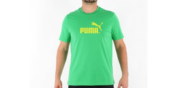 Pánské zelené tričko Puma se žlutým logem