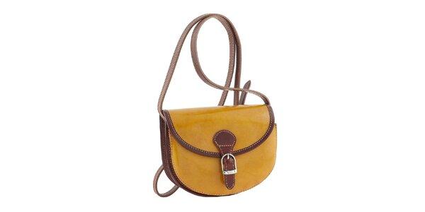 Dámská žlutá kabelka s hnědými prvky a přezkou Classe Regina