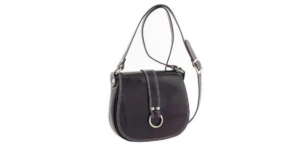 Dámská tmavě fialová kožená kabelka s klopou Classe Regina