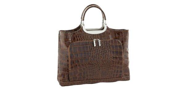 Dámská hnědá kožená kabelka se vzorem Classe Regina