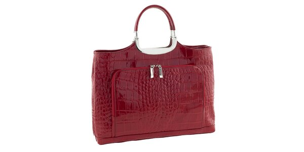 Dámská červená kožená kabelka se vzorem Classe Regina