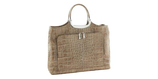 Dámská béžová kožená kabelka se vzorem Classe Regina