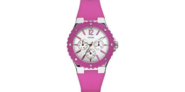 Dámské růžové hodinky Guess s chronografem