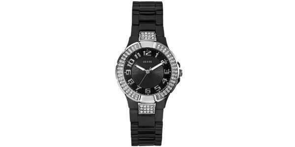 Dámské analogové hodinky s kamínky Guess