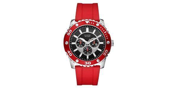 Pánské červené sportovní hodinky z oceli Guess