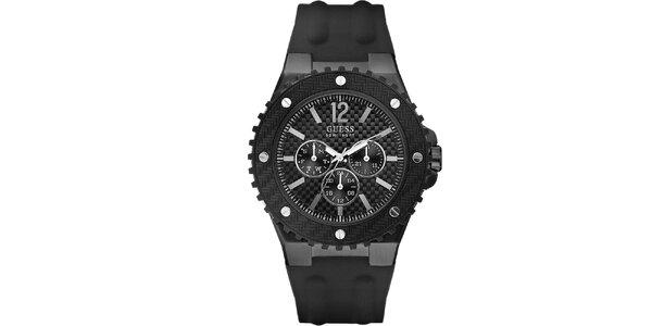 Pánské černé analogové hodinky Guess
