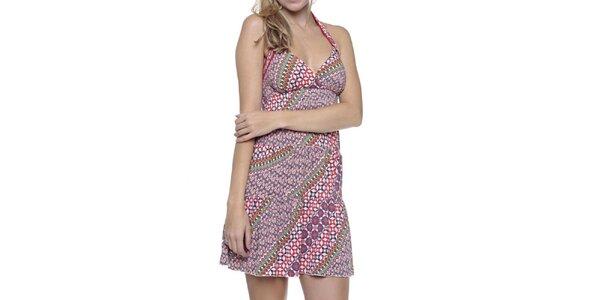 Dámské pestrobarevné šaty se zavazováním za krkem Guess