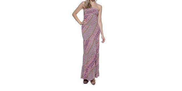 Dámské pestrobarevné dlouhé šaty bez ramínek Guess