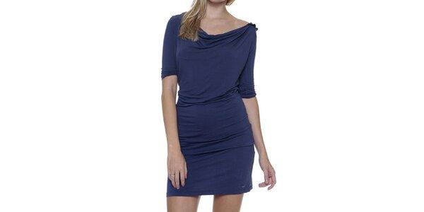 Dámské modré šaty s vykrojenými zády Guess