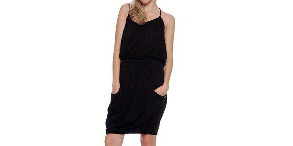 Dámské černé nabírané šaty Guess