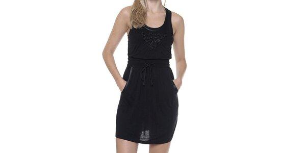 Dámské černé šaty s kapsami Guess