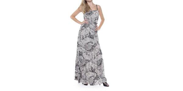 Dámské dlouhé černobílé šaty se vzorem Guess