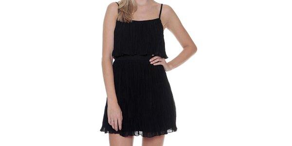 Dámské černé plisované šaty na ramínka Guess