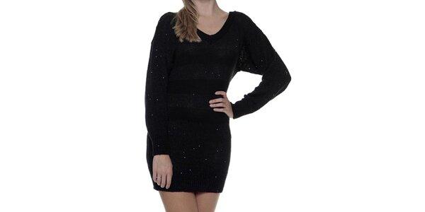 Dámské černé pletené šaty s dlouhým rukávem Guess