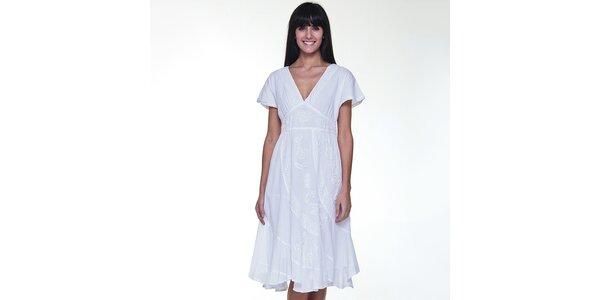 Dámské bílé šaty s výšivkou Peace & Love