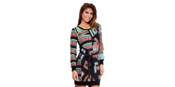 Dámské šaty s barevným potiskem a černými lemy Peace&Love