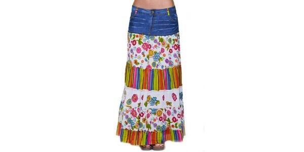 Dámská dlouhá květovaná sukně s džínovým pasem Peace&Love