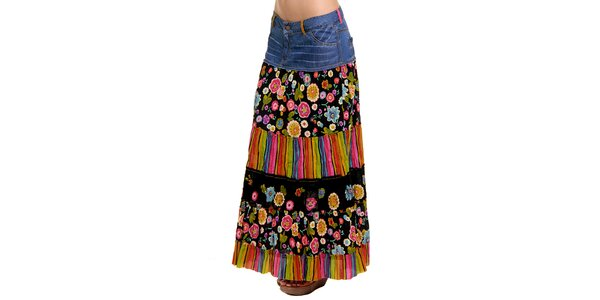 Dámská dlouhá barevná sukně s džínovým pasem Peace&Love