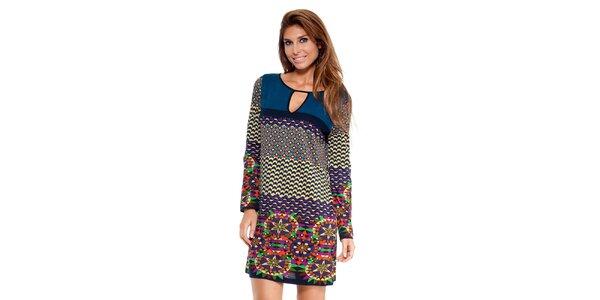 Dámské šaty s pestrobarevnými ornamenty Peace&Love