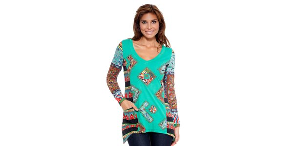 Dámská zelená tunika s barevným potiskem Peace&Love