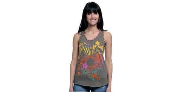 Dámské khaki tílko s květinovým motivem Peace&Love