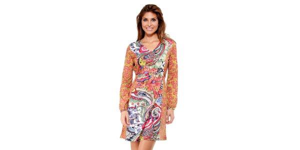 Dámské barevné šaty s květinovým potiskem Peace&Love