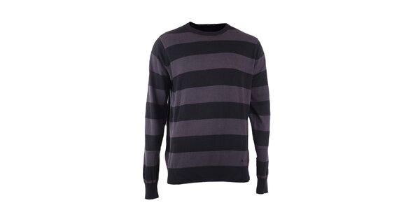 Pánský šedo-černě proužkovaný svetr Fundango