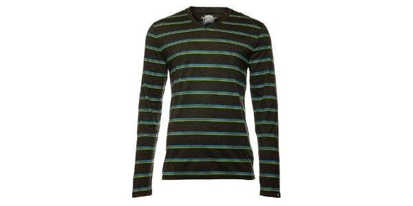 Pánské tmavě šedé tričko s dlouhým rukávem a modrožlutými pruhy Fundango