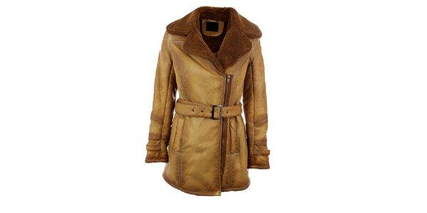 Dámský velbloudí kabát s hnědým kožíškem Company&Co