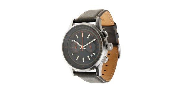 Pánské hodinky Marc O´Polo s tmavě šedým koženým řemínkem a černým ciferníkem