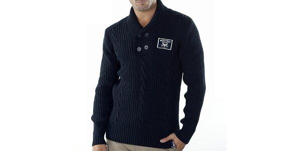 Pánský tmavě modrý svetr s copánkovým vzorem Bendorff