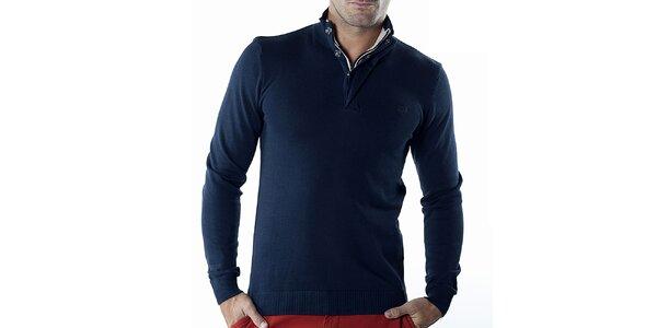 Pánský tmavě modrý svetr se zipem Bendorff