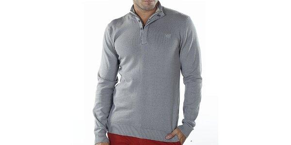 Pánský světle šedý svetr se zipem Bendorff