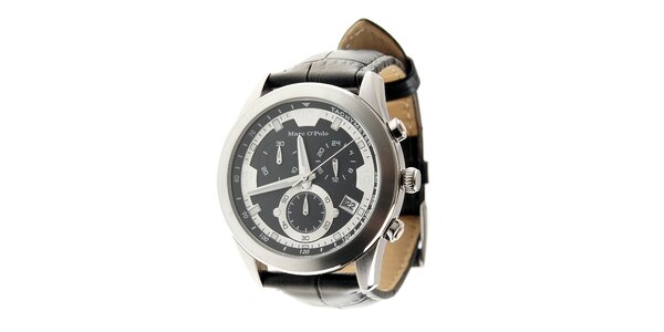 Stylové ocelové hodinky Marc O´Polo s černým koženým řemínkem