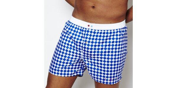 Pánské modro-bílé kárované boxerky Color Code