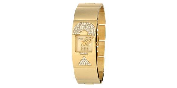 Dámské zlaté hodinky Guess s kamínky