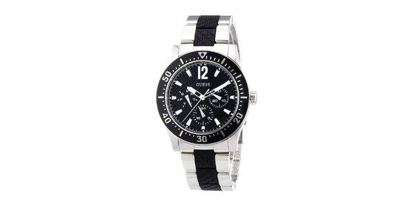 Dámské analogové hodinky s černým ciferníkem Guess